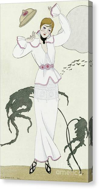 Fashion Plate Canvas Print - Vintage Design For White Dress With Pink Trim And Crochet Belt by Georges Barbier