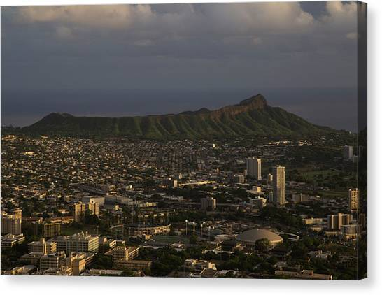 University Of Hawaii Canvas Print - Vintage Diamond Head by Trenton Dos Santos-Tam