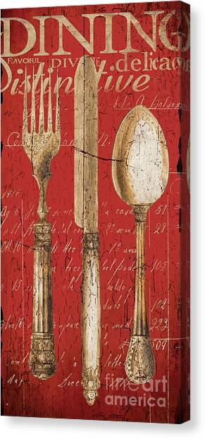 Bistros Canvas Print - Vintage Dining Utensils In Red by Grace Pullen