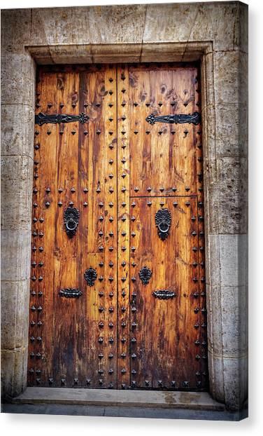 Vintage Door In Valencia Spain  Canvas Print