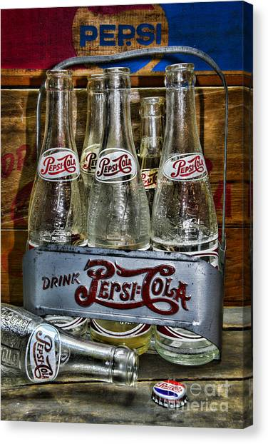 Pepsi Canvas Print - Vintage Double Dot Metal Pepsi Carrier. by Paul Ward