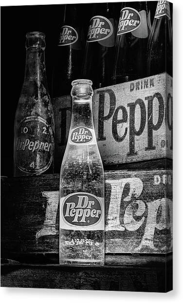 Dr. Pepper Canvas Print - Vintage Dr Pepper Bottles In Black And White by JC Findley