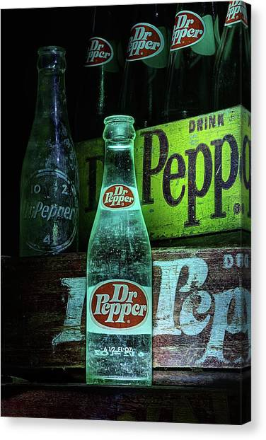 Dr. Pepper Canvas Print - Vintage Dr Pepper Bottles by JC Findley