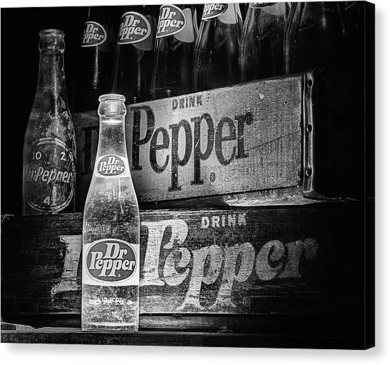 Dr. Pepper Canvas Print - Vintage Dr Pepper In Black And White by JC Findley