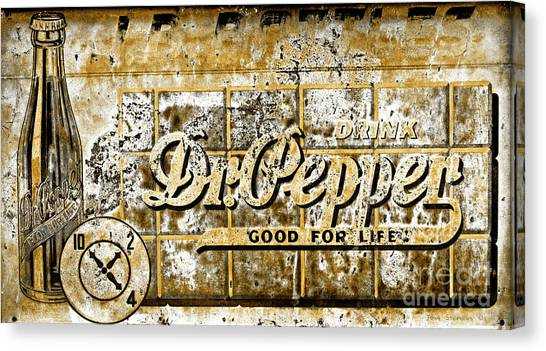 Dr. Pepper Canvas Print - Vintage Dr. Pepper Sign Toned by John Stephens