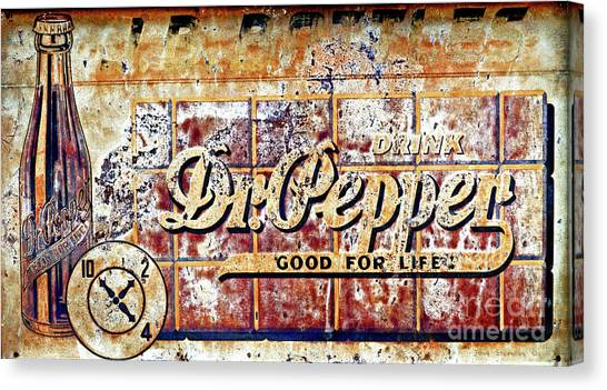 Dr. Pepper Canvas Print - Vintage Dr. Pepper Tin Sign by John Stephens
