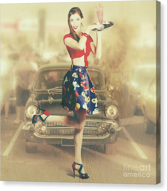 Attendant Canvas Print - Vintage Drive Thru Pin-up Girl by Jorgo Photography - Wall Art Gallery
