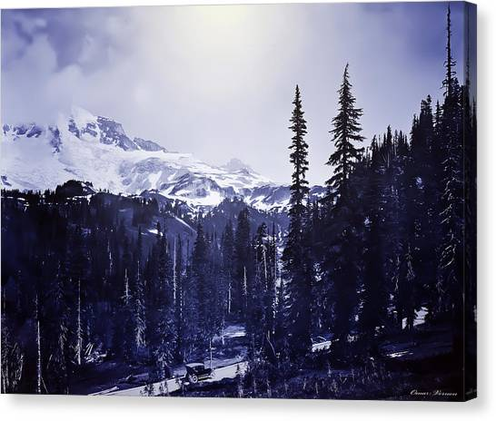 Vintage... Driving Up To Mount Rainier Early 1900 Era... Canvas Print
