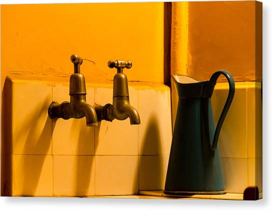Vintage English Tap Water With Watering Can Canvas Print
