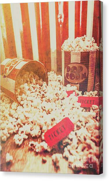 Popcorn Canvas Print - Vintage Entertainment Background by Jorgo Photography - Wall Art Gallery