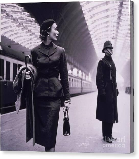Retro Canvas Print - Vintage Fashion Elegant Lady by Mindy Sommers