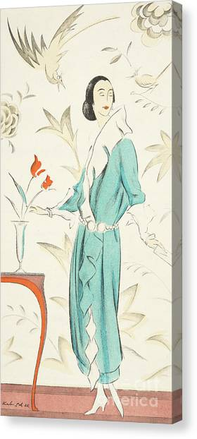 Fashion Plate Canvas Print - Vintage Fashion Plate From The Twenties by German School