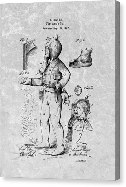 Volunteer Firefighter Canvas Print - Vintage Fireman Patent by Dan Sproul