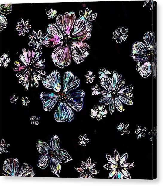 Canvas Print - Vintage Flowers On Black Background by Modern Art