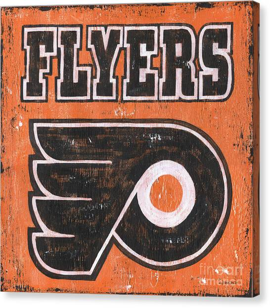 Philadelphia Flyers Canvas Print - Vintage Flyers Sign by Debbie DeWitt