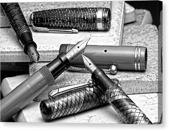 Inks Canvas Print - Vintage Fountain Pens by Tom Mc Nemar