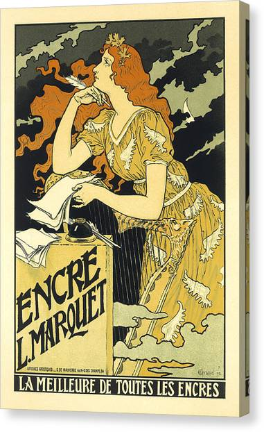 Vintage French Advertising Art Nouveau Encre L'marquet Canvas Print