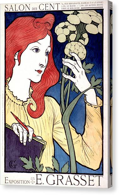 Vintage French Advertising Art Nouveau Salon Des Cent Canvas Print