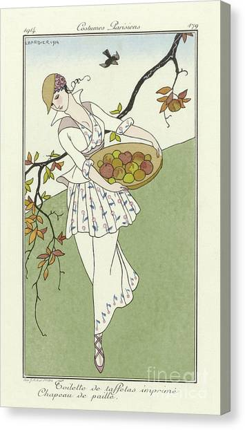 Fashion Plate Canvas Print - Vintage French Fashion Plate  Girl Picking Apples by Georges Barbier