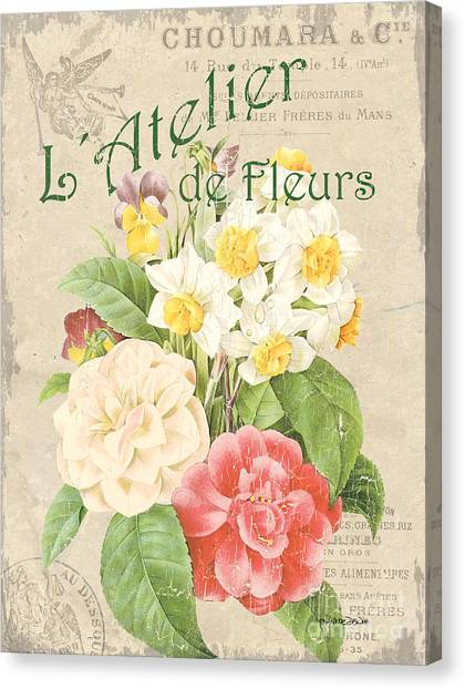 Botanical Canvas Print - Vintage French Flower Shop 1 by Debbie DeWitt