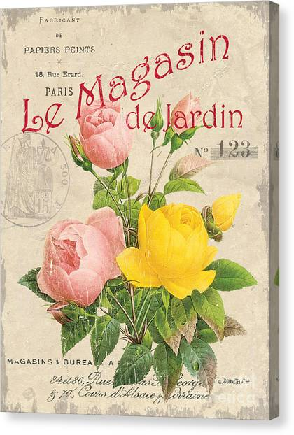 Bloom Canvas Print - Vintage French Flower Shop 3 by Debbie DeWitt