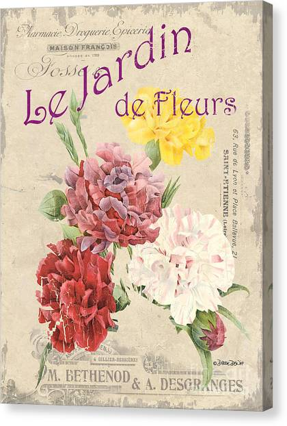 Botanical Canvas Print - Vintage French Flower Shop 4 by Debbie DeWitt