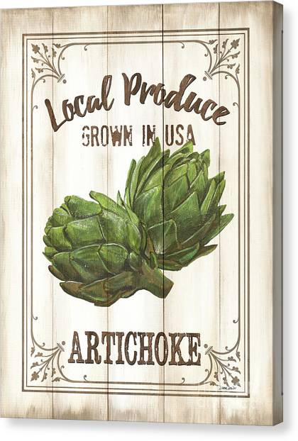 Artichoke Canvas Print - Vintage Fresh Vegetables 2 by Debbie DeWitt
