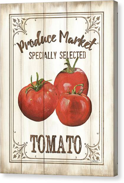 Tomato Canvas Print - Vintage Fresh Vegetables 4 by Debbie DeWitt