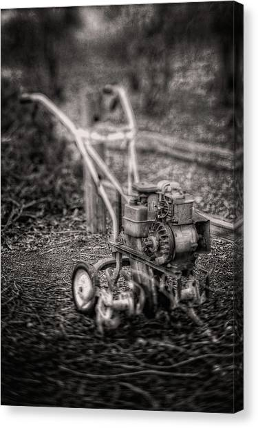 Clay Canvas Print - Vintage Garden Rototiller Near Split Rail Fence In Black And Whi by YoPedro
