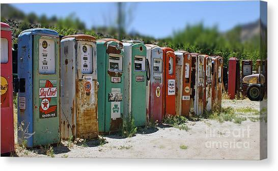 Vintage Gas Pumps Canvas Print