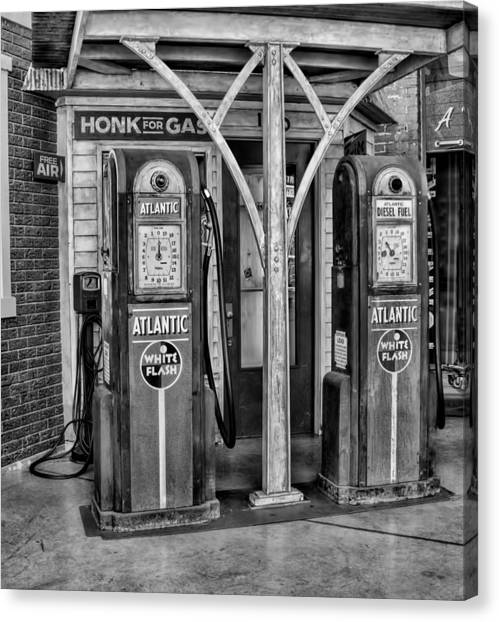 Vintage Gas Station Bw Canvas Print