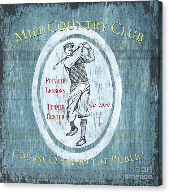 Golf Canvas Print - Vintage Golf Blue 2 by Debbie DeWitt