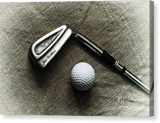 Jack Nicklaus Canvas Print - Vintage Golf Club And Ball by Charline Xia