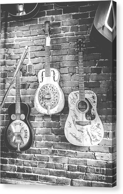 Vintage Guitar Trio In Black And White Canvas Print