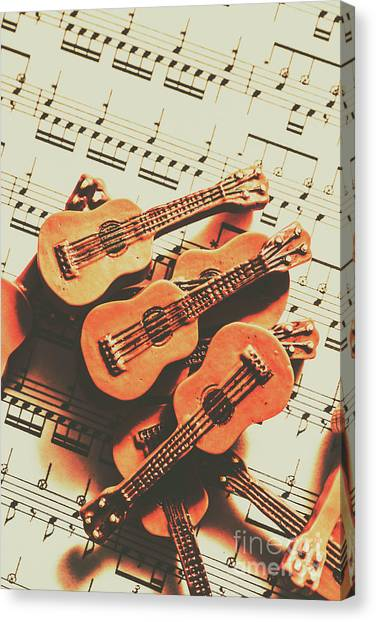 Stringed Instruments Canvas Print - Vintage Guitars On Music Sheet by Jorgo Photography - Wall Art Gallery