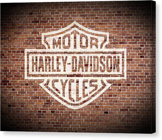 Motorcycle Canvas Print - Vintage Harley Davidson Logo Painted On Old Brick Wall by Design Turnpike