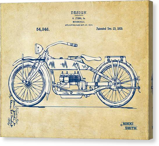 Bicycle Canvas Print - Vintage Harley-davidson Motorcycle 1919 Patent Artwork by Nikki Smith