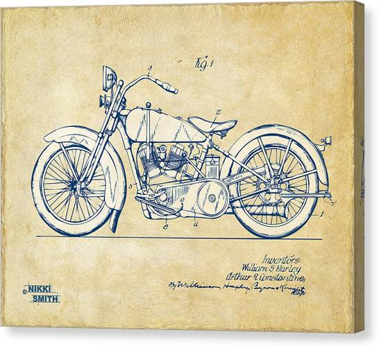 Motorcycle Canvas Print - Vintage Harley-davidson Motorcycle 1928 Patent Artwork by Nikki Smith