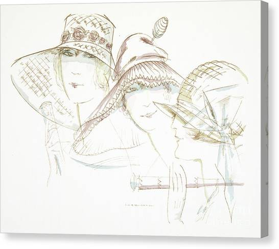 Fashion Plate Canvas Print - Vintage Hat Designs From The Twenties by German School