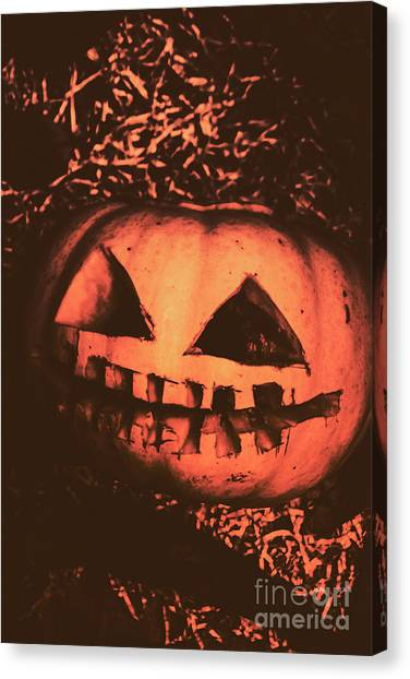 Old Age Canvas Print - Vintage Horror Pumpkin Head by Jorgo Photography - Wall Art Gallery