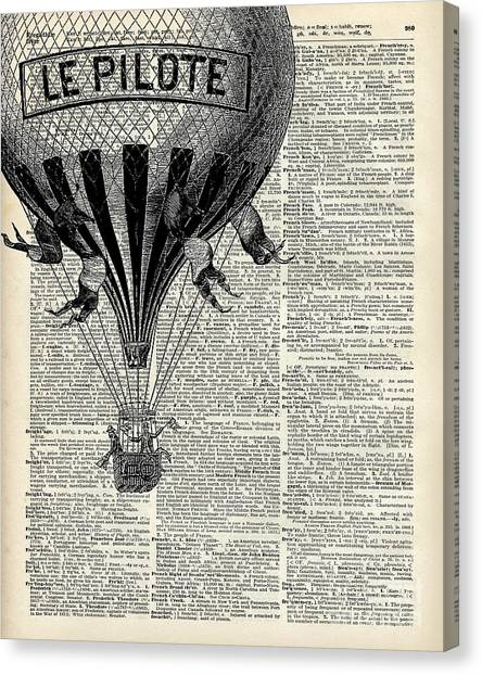 Sky Canvas Print - Vintage Hot Air Balloon Illustration,antique Dictionary Book Page Design by Anna W