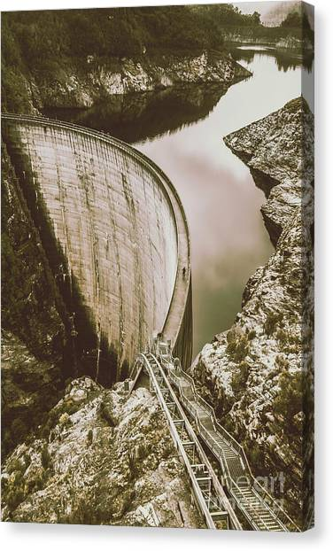 Engineering Canvas Print - Vintage Hydro-electric Dam by Jorgo Photography - Wall Art Gallery