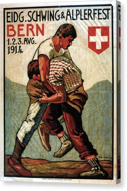 Wrestling Canvas Print - Vintage Illustrated Poster - Two Men Wrestling - Schwing And Alplerfest - Bern, Switzerland by Studio Grafiikka