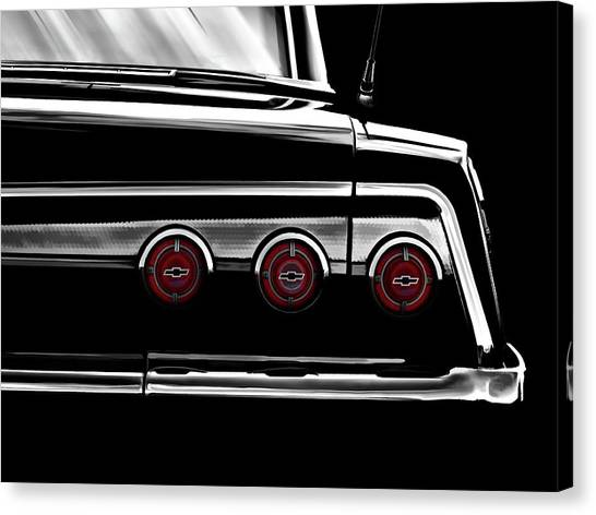 Chevy Canvas Print - Vintage Impala Black And White by Douglas Pittman