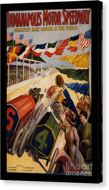 Indy 500 Canvas Print - Vintage Indianapolis Motor Speedway Poster by Edward Fielding