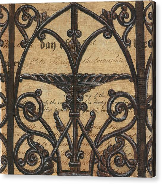 Old Canvas Print - Vintage Iron Scroll Gate 1 by Debbie DeWitt