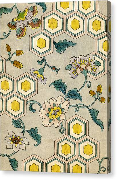 Yellow Flowers Canvas Print - Vintage Japanese Illustration Of Blossoms On A Honeycomb Background by Japanese School