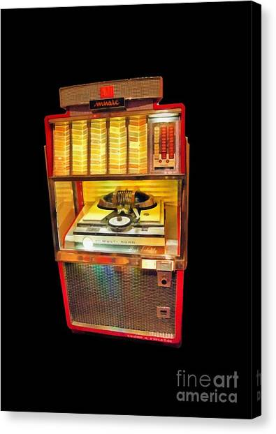 Jukebox Canvas Print - Vintage Jukebox Tee by Edward Fielding