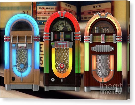 Jukebox Canvas Print - Vintage Jukeboxes by Edward Fielding