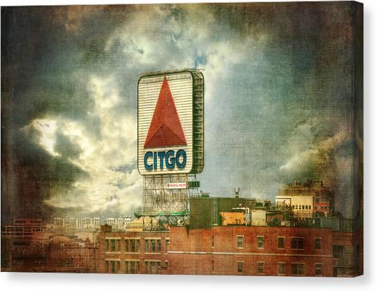 Boston Red Sox Canvas Print - Vintage Kenmore Square Citgo Sign - Boston Red Sox by Joann Vitali